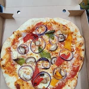 PIZZA – 12″ – Mushroom, onion, peppers, mozzarella, tomato sauce
