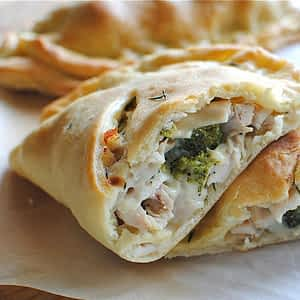 Cream Chicken And Peppers Calzone